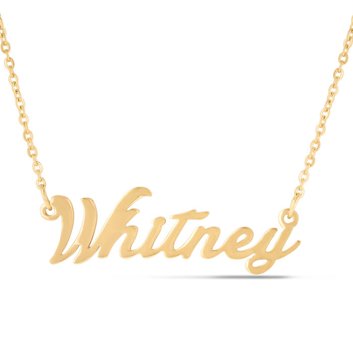 Whitney Nameplate Necklace in Gold, 16 Inch Chain by SuperJeweler