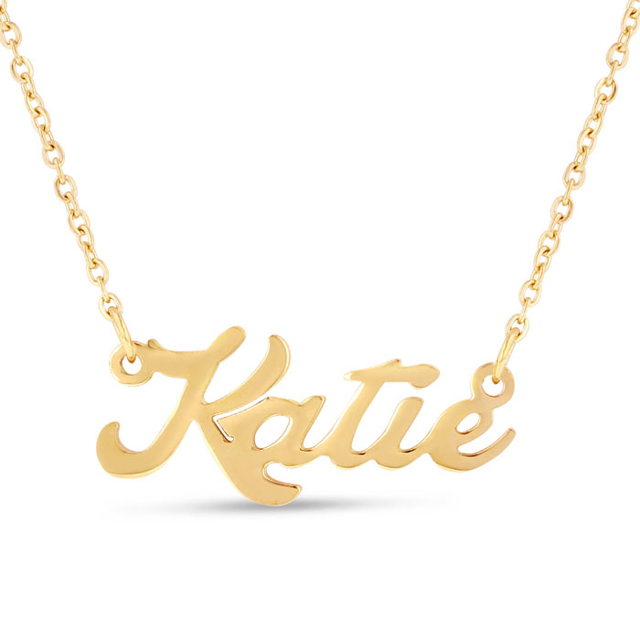 Katie Nameplate Necklace in Gold, 16 Inch Chain by SuperJeweler