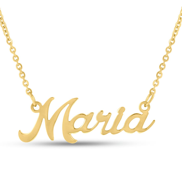 Maria Nameplate Necklace in Gold, 16 Inch Chain by SuperJeweler