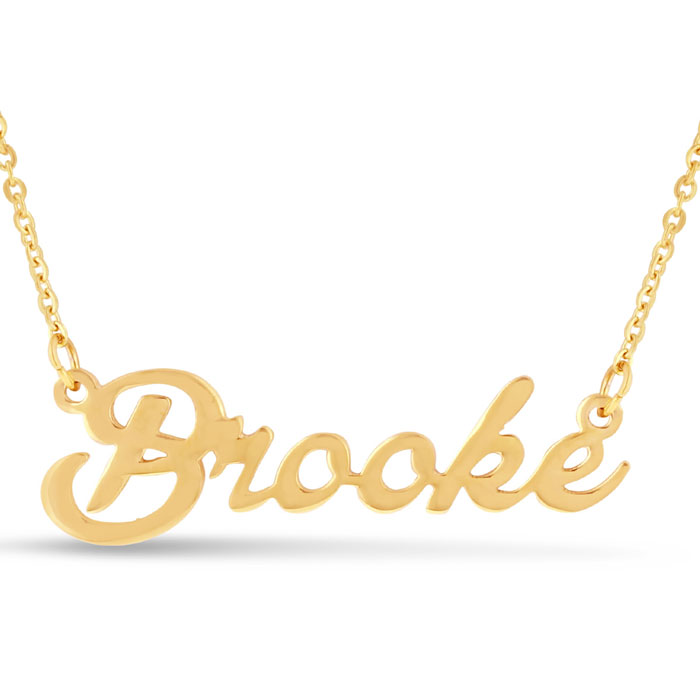 Brooke Nameplate Necklace in Gold, 16 Inch Chain by SuperJeweler