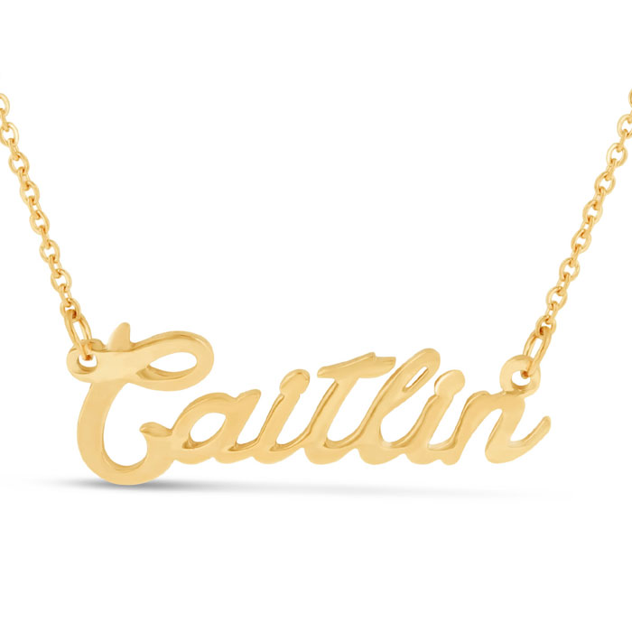 Caitlin Nameplate Necklace in Gold, 16 Inch Chain by SuperJeweler