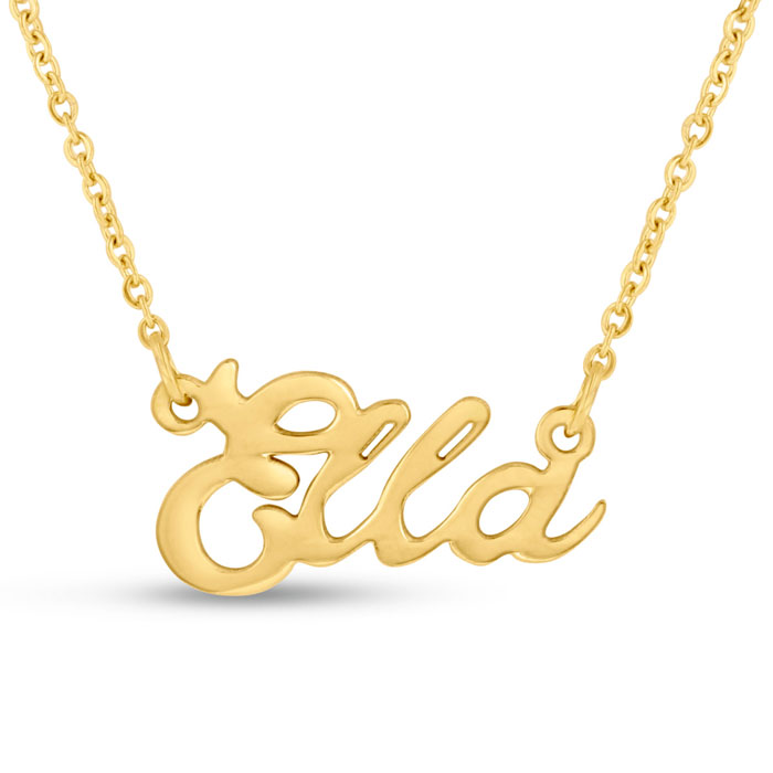 Ella Nameplate Necklace in Gold, 16 Inch Chain by SuperJeweler