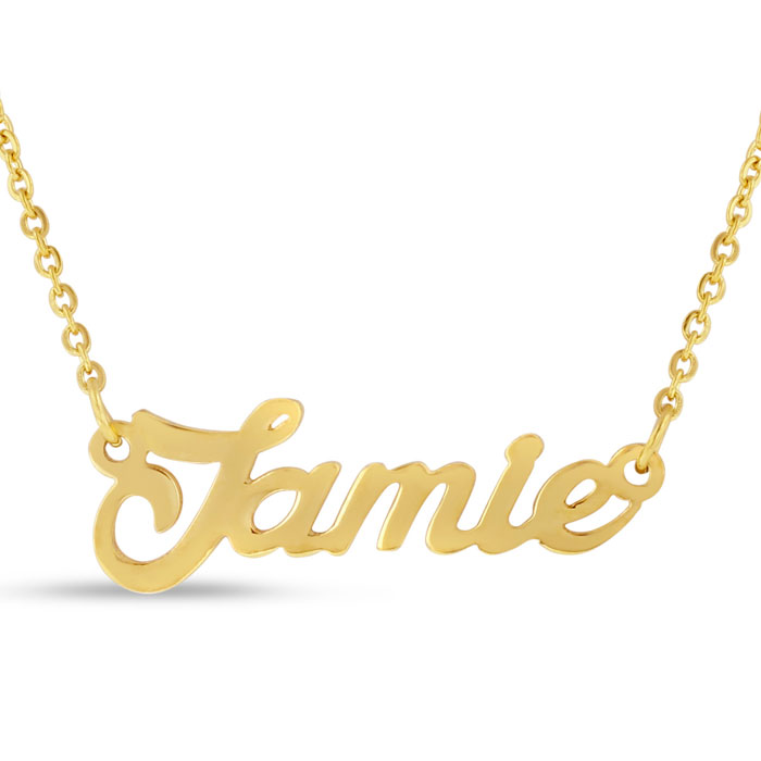 Jamie Nameplate Necklace in Gold, 16 Inch Chain by SuperJeweler