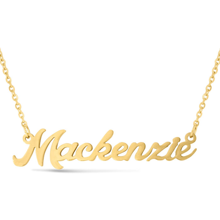 Mackenzie Nameplate Necklace in Gold, 16 Inch Chain by SuperJewel