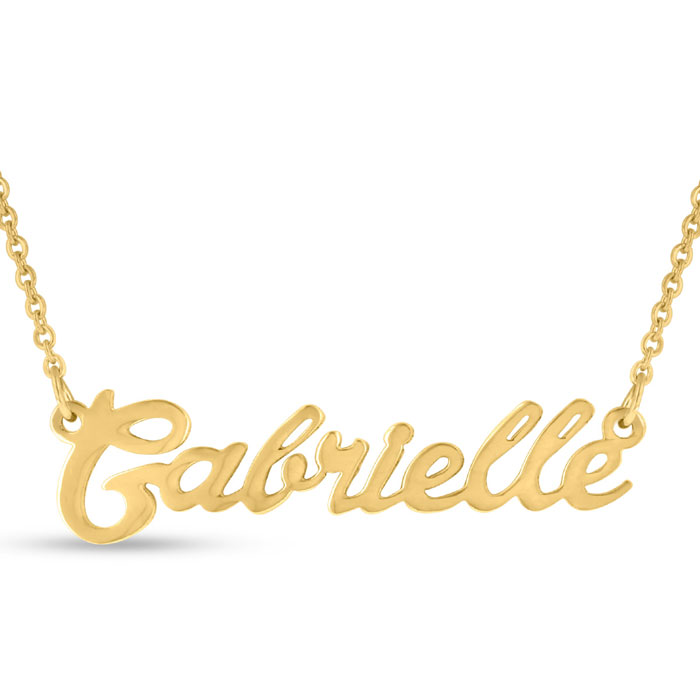 gabrielle nameplate necklace in gold superjeweler