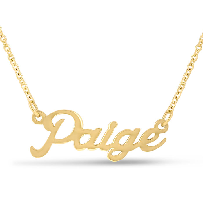 Paige Nameplate Necklace in Gold, 16 Inch Chain by SuperJeweler