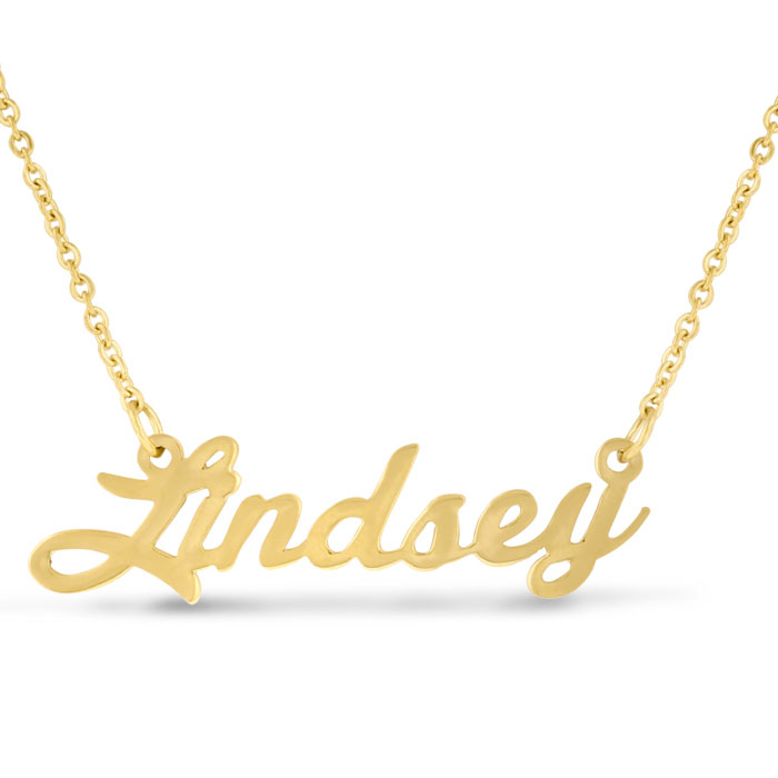 Lindsey Nameplate Necklace in Gold, 16 Inch Chain by SuperJeweler