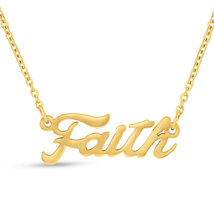Faith Nameplate Necklace in Gold, 16 Inch Chain by SuperJeweler