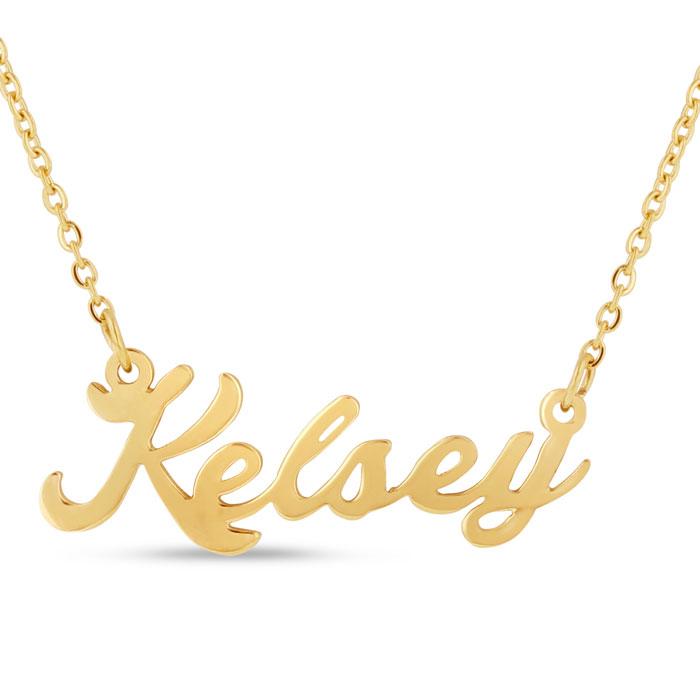 578ec14c59224 Kelsey Nameplate Necklace In Gold   SuperJeweler.com