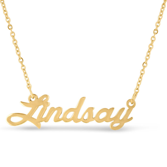 Lindsay Nameplate Necklace in Gold, 16 Inch Chain by SuperJeweler