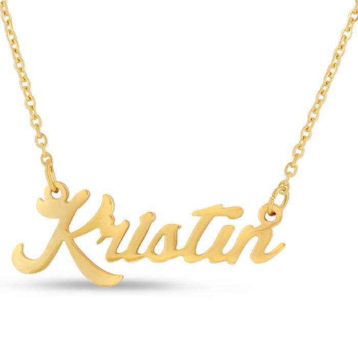 Kristin Nameplate Necklace in Gold, 16 Inch Chain by SuperJeweler