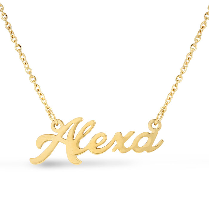 Alexa Nameplate Necklace in Gold, 16 Inch Chain by SuperJeweler