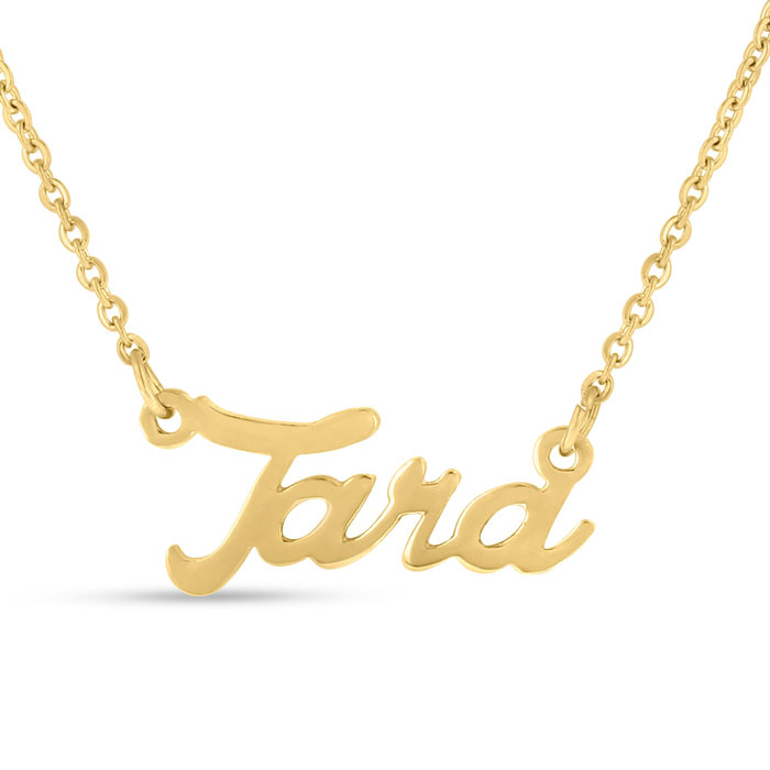 Tara Nameplate Necklace in Gold, 16 Inch Chain by SuperJeweler
