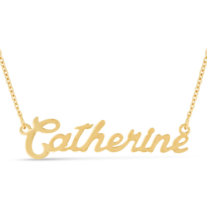 Catherine Nameplate Necklace In Gold