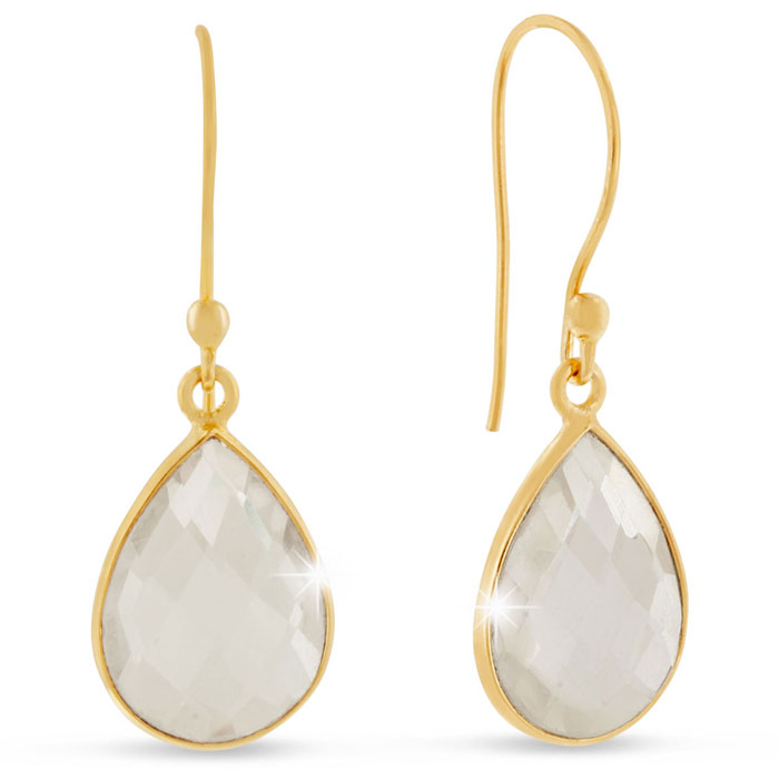12 Carat Clear Quartz Pear Shape Earrings in 18K Gold Overlay by