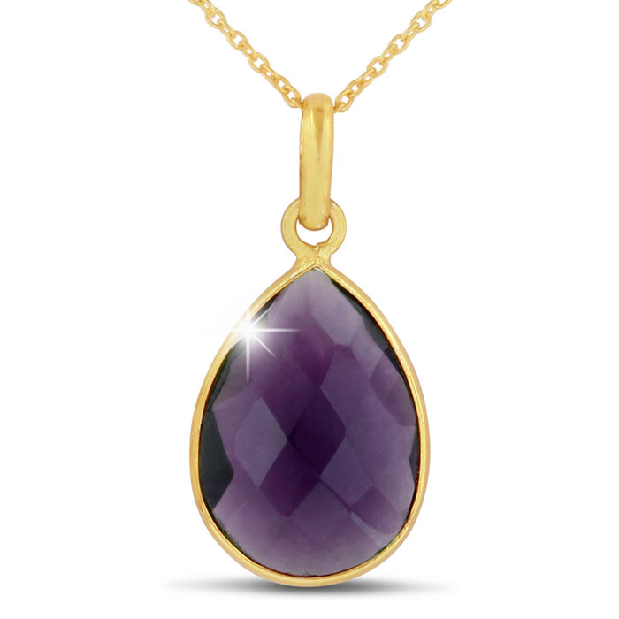 10 Carat Created Amethyst Pear Shape Necklace in 18K Gold Overlay, Free 18 Inch Chain by SuperJeweler