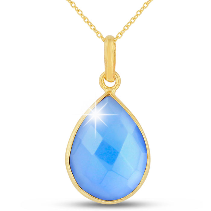 10 Carat Blue Chalcedony Pear Shape Necklace in 18K Gold Overlay, Free 18 Inch Chain by SuperJeweler