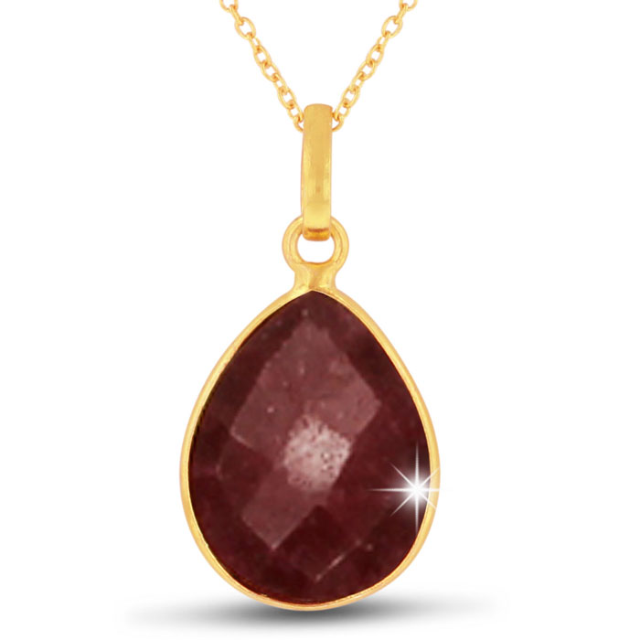 10 Carat Ruby Pear Shape Necklace in 18K Gold Overlay, 18 inches