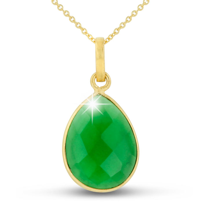 10 Carat Emerald Quartz Pear Shape Necklace in 18K Gold Overlay,