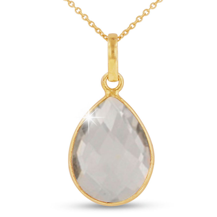 10 Carat Clear Quartz Pear Shape Necklace in 18K Gold Overlay, Fr