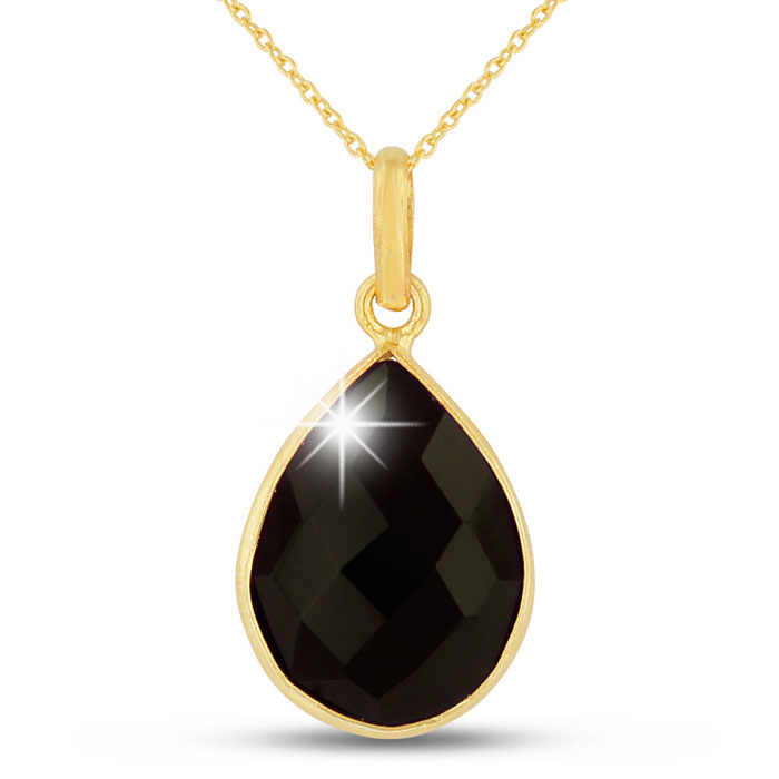10 Carat Clear Black Onyx Pear Shape Necklace in 18K Gold Overlay