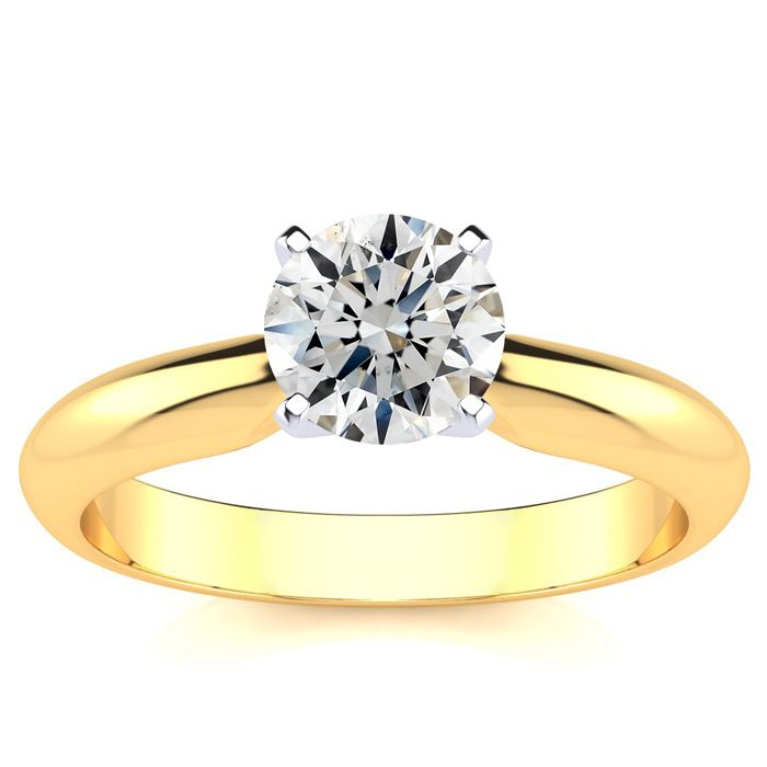 1 Carat Diamond Solitaire Engagement Ring in 14K Yellow Gold (H-I