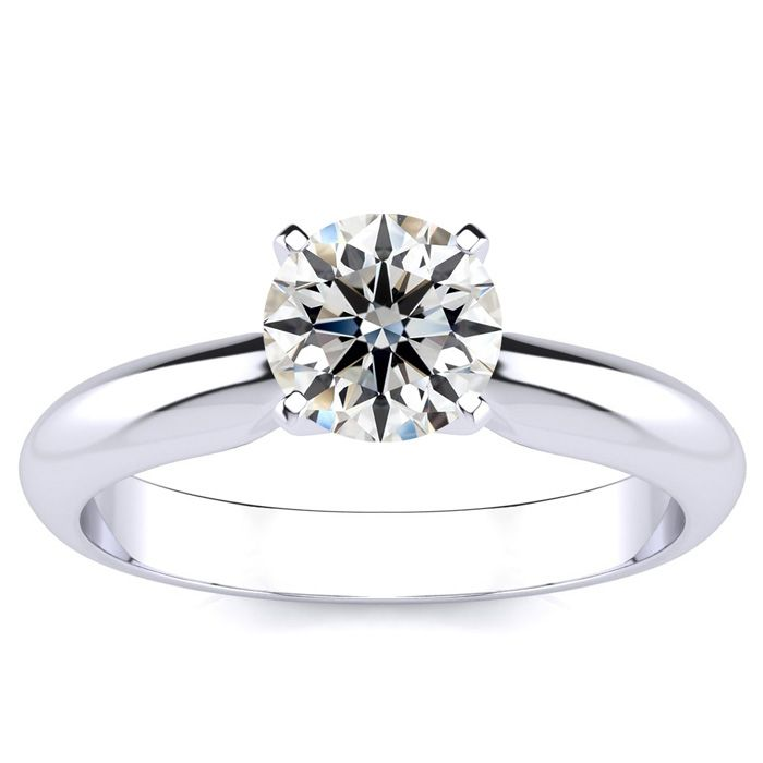 1 Carat Diamond Solitaire Engagement Ring in 14K White Gold (H-I,
