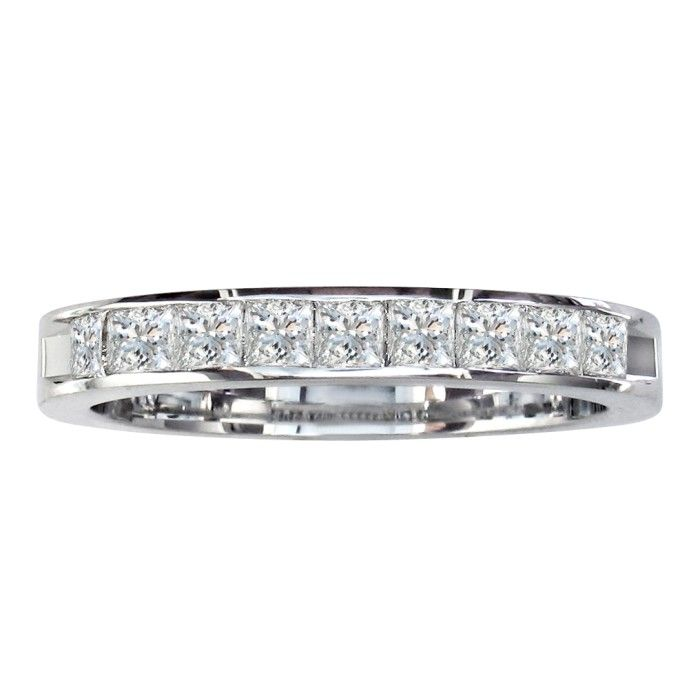 1/2 Carat Princess Cut Diamond Channel Set Wedding Band, 14k Whit