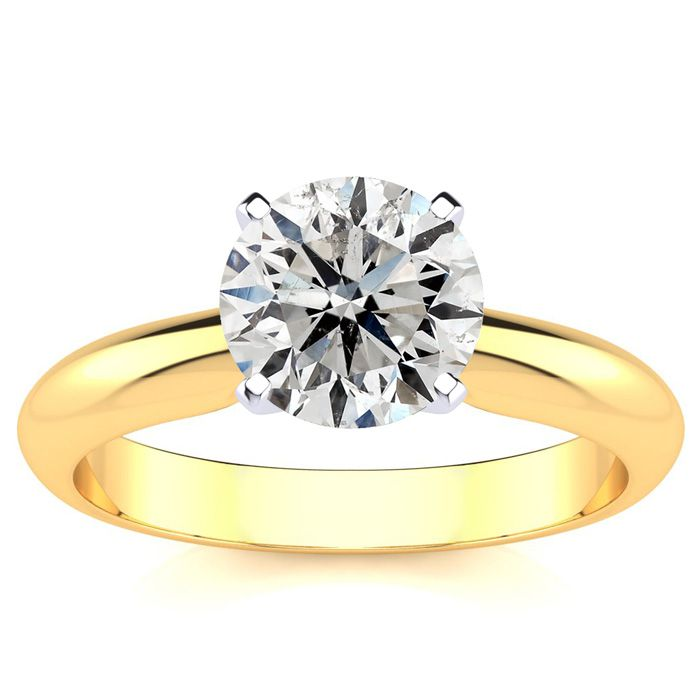 1.5 Carat Diamond Solitaire Engagement Ring in 14K Yellow Gold (H
