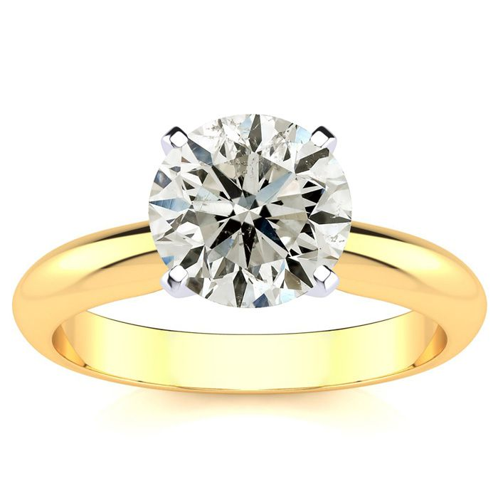 2 Carat Round Cut Diamond Yellow Gold Solitaire Engagement Ring,  by SuperJe..
