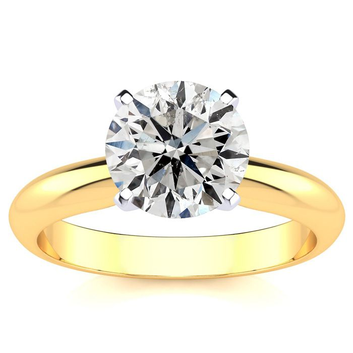2 Carat Diamond Solitaire Engagement Ring in 14K Yellow Gold (3 g
