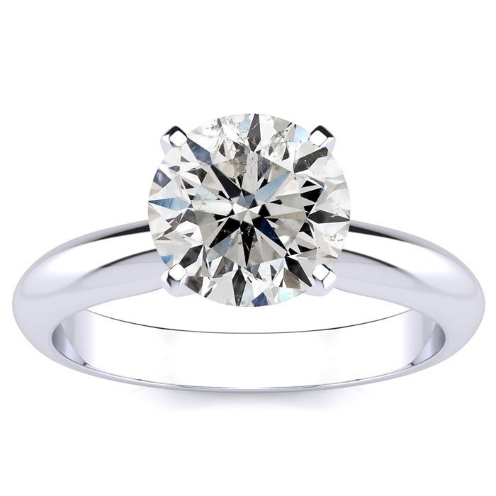 2 Carat Diamond Solitaire Engagement Ring in 14K White Gold (3 g) (H-I, I1-I2 Clarity Enhanced) by SuperJeweler