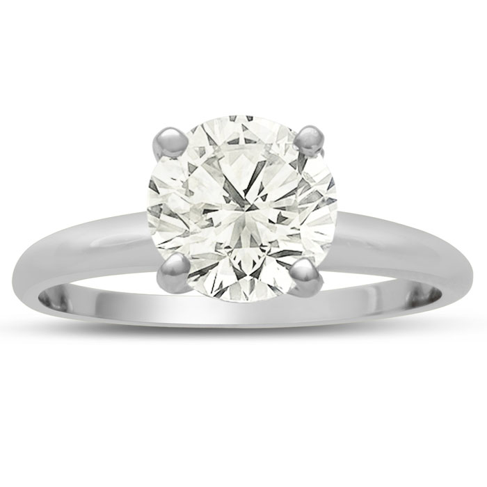 Very Fine VS Clarity 2.00 Carat Round Cut Diamond Solitaire Engagement Ring