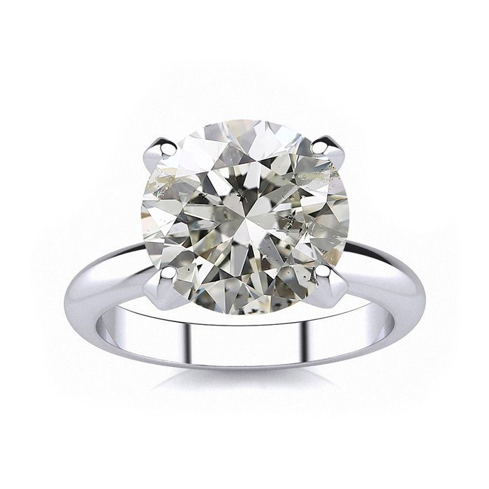 Image of 4.23 Carat Round Cut Diamond Platinum Solitaire Engagement Ring H I Color SI2-I1 Clarity, Hearts And Arrows Cut