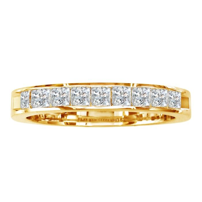 1 Carat Princess Cut Diamond Channel Set Wedding Band, 14k Yellow