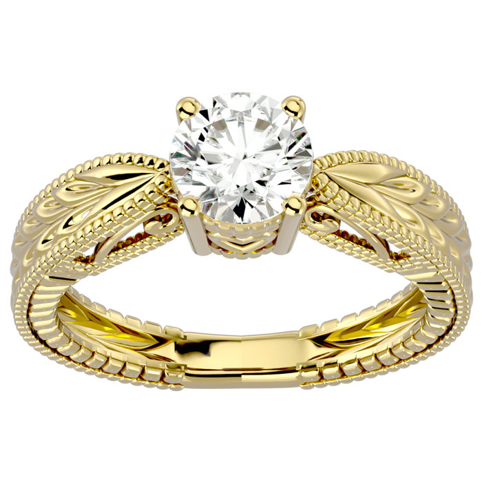 1 Carat Solitaire Diamond Engagement Ring w/ Tapered Etched Band Crafted in 14K Yellow Gold (I-J, I1-I2 Clarity Enhanced) by SuperJeweler
