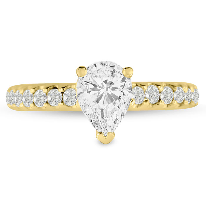 1 1/3 Carat Pear Shape Diamond Engagement Ring in 14K Yellow Gold (5.7 g) (