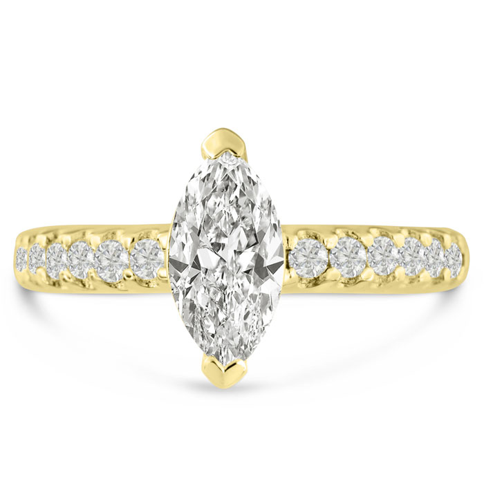 1 1/3 Carat Marquise Shape Diamond Engagement Ring in 14K Yellow