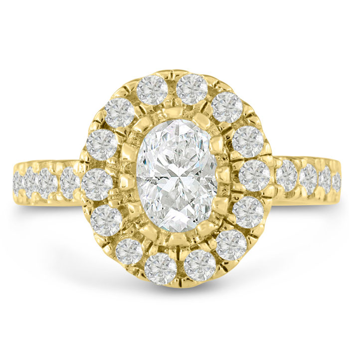 1.5 Carat Oval Shape Diamond Engagement Ring in 14K Yellow Gold (6.9 g) (I-J, I1-I2 Clarity Enhanced) by SuperJeweler