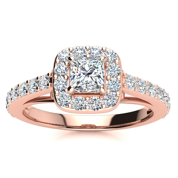 2 Carat Halo Diamond Engagement Ring in 14K Rose Gold (5.9 g) (I-