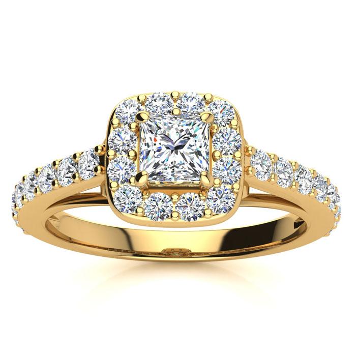 2 Carat Halo Diamond Engagement Ring in 14K Yellow Gold (I-J, I1-