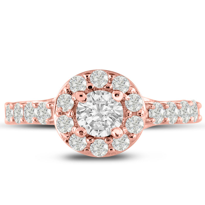 1.5 Carat Halo Diamond Engagement Ring in 14K Rose Gold (5.4 g) (
