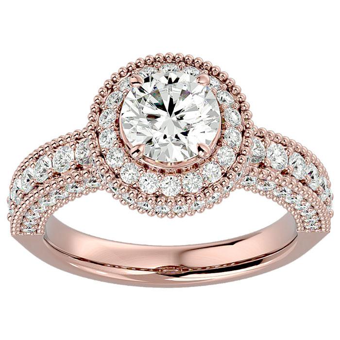 2 Carat Halo Diamond Engagement Ring in 14K Rose Gold (6.5 g) (I-