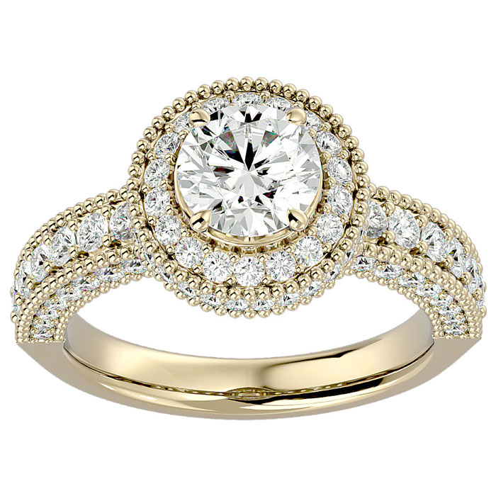 2 Carat Halo Diamond Engagement Ring in 14K Yellow Gold (6.5 g) (