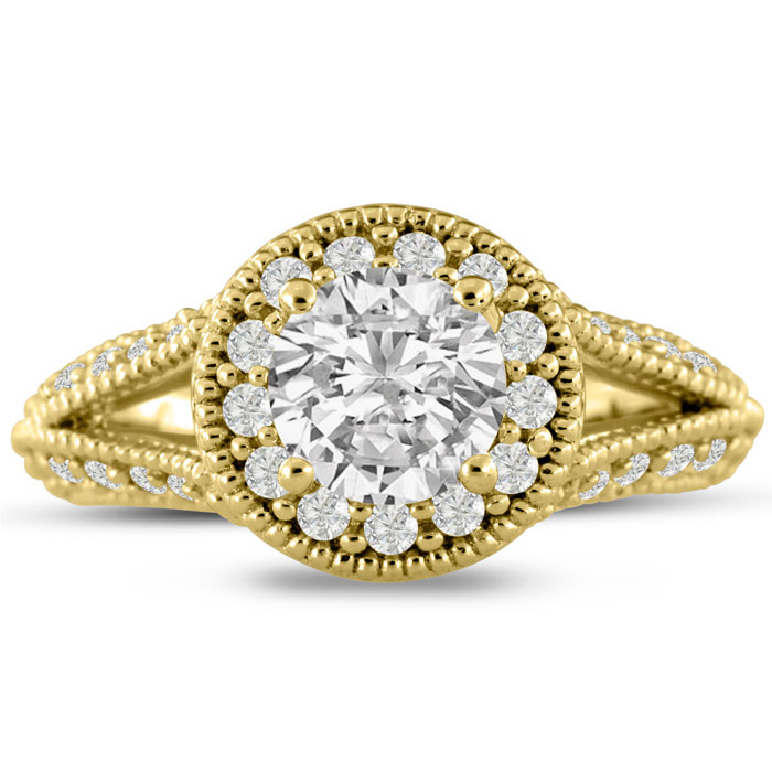 1 3/4 Carat Split Shank Halo Diamond Engagement Ring in 14K Yellow Gold (6.1 g) (I-J, I1-I2 Clarity Enhanced) by SuperJeweler