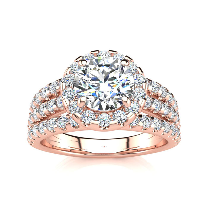1 2/3 Carat Round Halo Diamond Engagement Ring in 14k Rose Gold