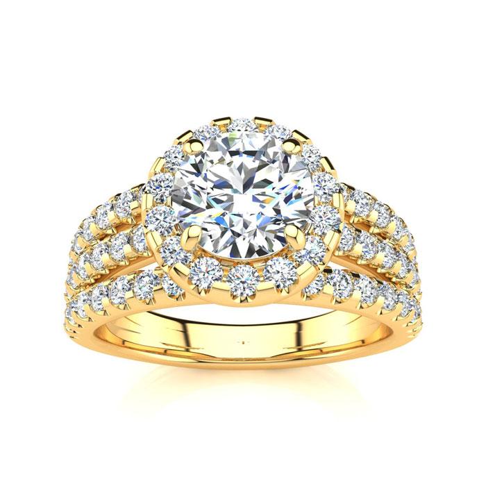1 2/3 Carat Round Halo Diamond Engagement Ring in 14K Yellow Gold