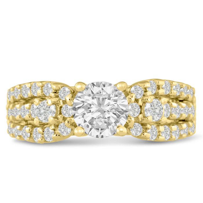 1 1/5 Carat Round Brilliant Diamond Engagement Ring in 14K Yellow