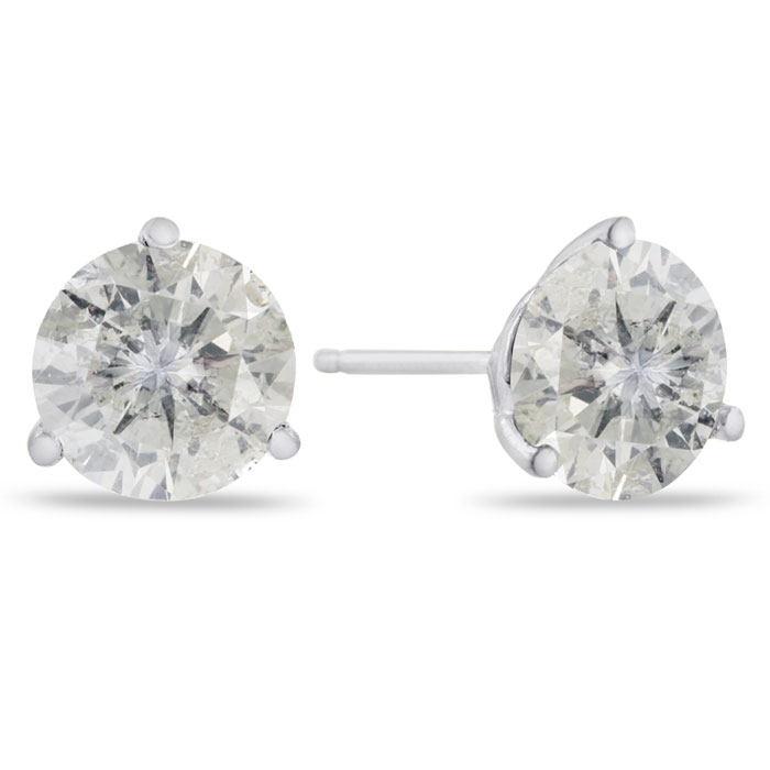 2 Carat Round Cut Clarity Enhanced Diamond Stud Earrings in 14K W