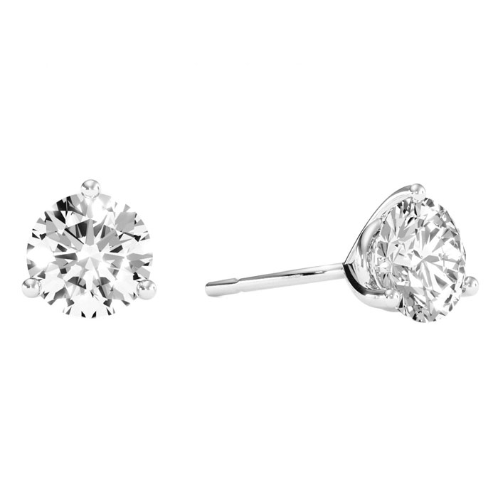 2 Carat Round Cut Clarity Enhanced Diamond White Gold Stud Earrin
